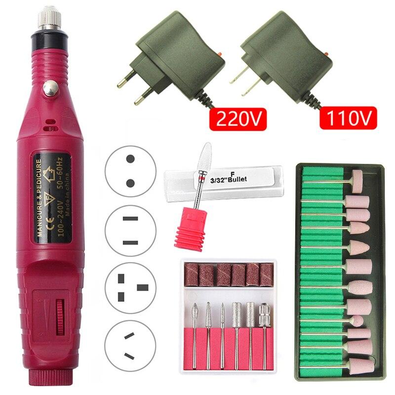 20000RPM Electric Nail Drill Machine Manicure Drill Salon Pedicure Professional Nail Drill Equipment Portable Nail Drill Machine