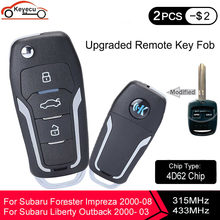 Keyecu yükseltilmiş çevirme uzaktan anahtar 315mhz veya 433mhz 4D62 çip Subaru Forester Liberty Outback Impreza 2000 2001 2002 2003-2008
