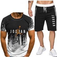 2020 conjuntos de camisas masculinas + shorts duas peças define casual treino masculino/feminino jordan 23 terno imprimir topos + calças calções fitness ginásios