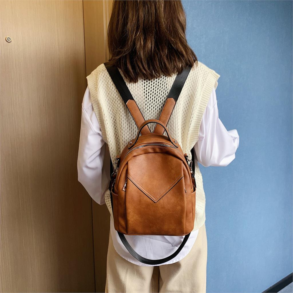 Men Women Leather Travel Rucksack Handbag School Satchel Shoulder Backpack Tote