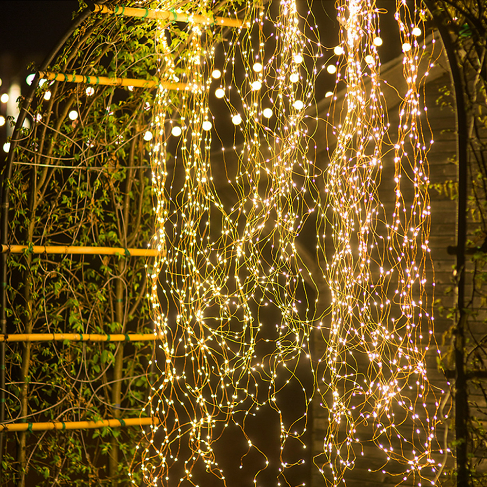 600 LED Waterfall Vine String Lights Battery Copper Wire Fairy Lights For Tree Store Christmas Home Window Background Decoration