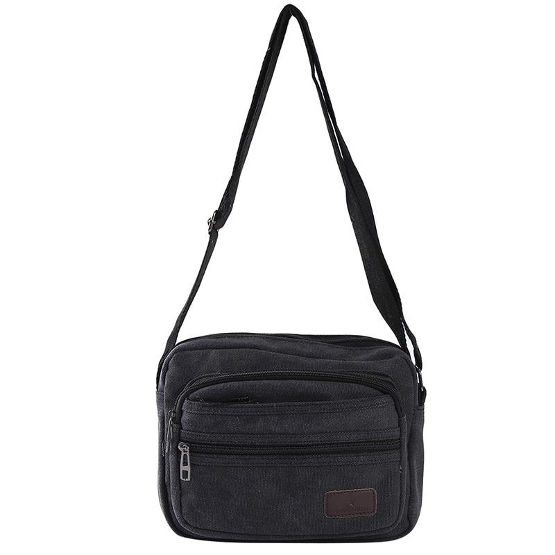 Women Travel Bag Vintage Black Canvas Bag Crossbody Outdoor Zipper Casual Shoulder Messenger School Bag 2020 New