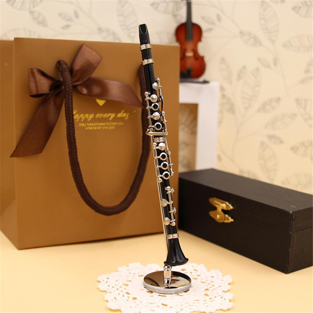 Mini Clarinet Model Musical Instrument Miniature Desk Decor Display Bass Clarinet With Black Leather Box + Bracket