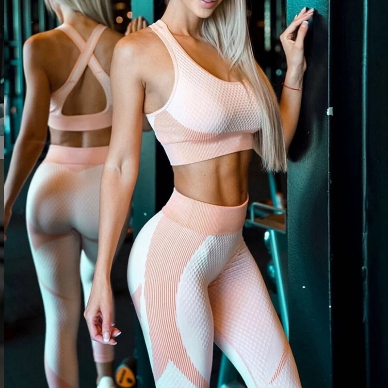 Yoga Set Workout gym clothing fitness for Women's tracksuit outfit leggings Sport bras top Long sleeve Women Sportswear Suit 6