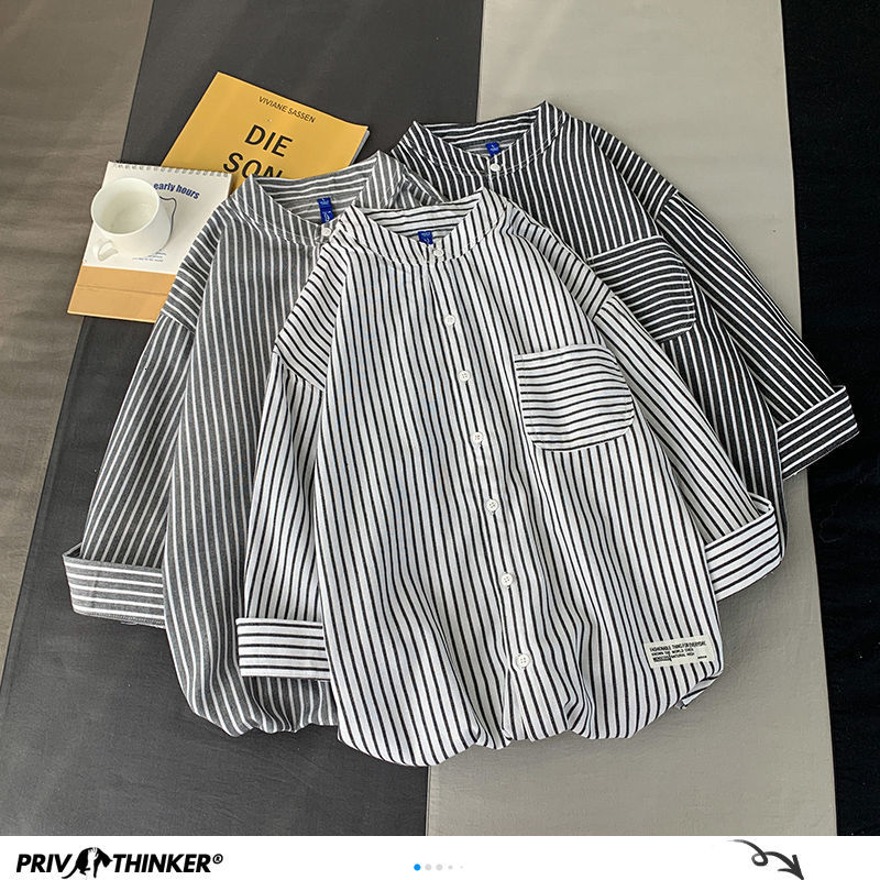 Privathinker Harajuku Fashion Casual Striped Shirts Man 2020 Summer Black Single Breasted Shirts Male Fashion 3 Colors Clothes