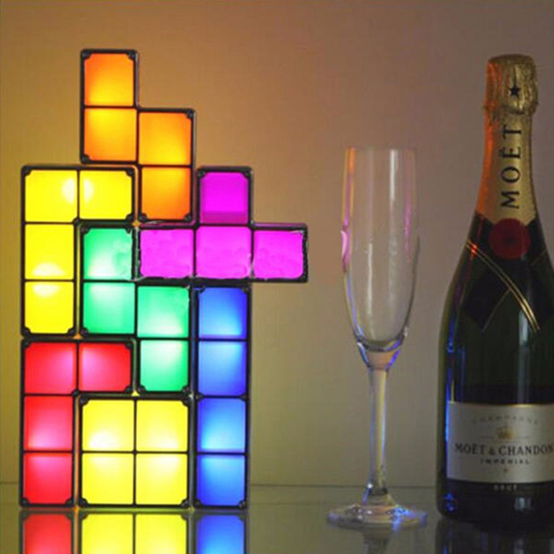 Tetris Block Night Light Full Contact DIY Stackable Atmosphere Lamp Christmas Gift LED Light Energy Saving Colorful Decorate