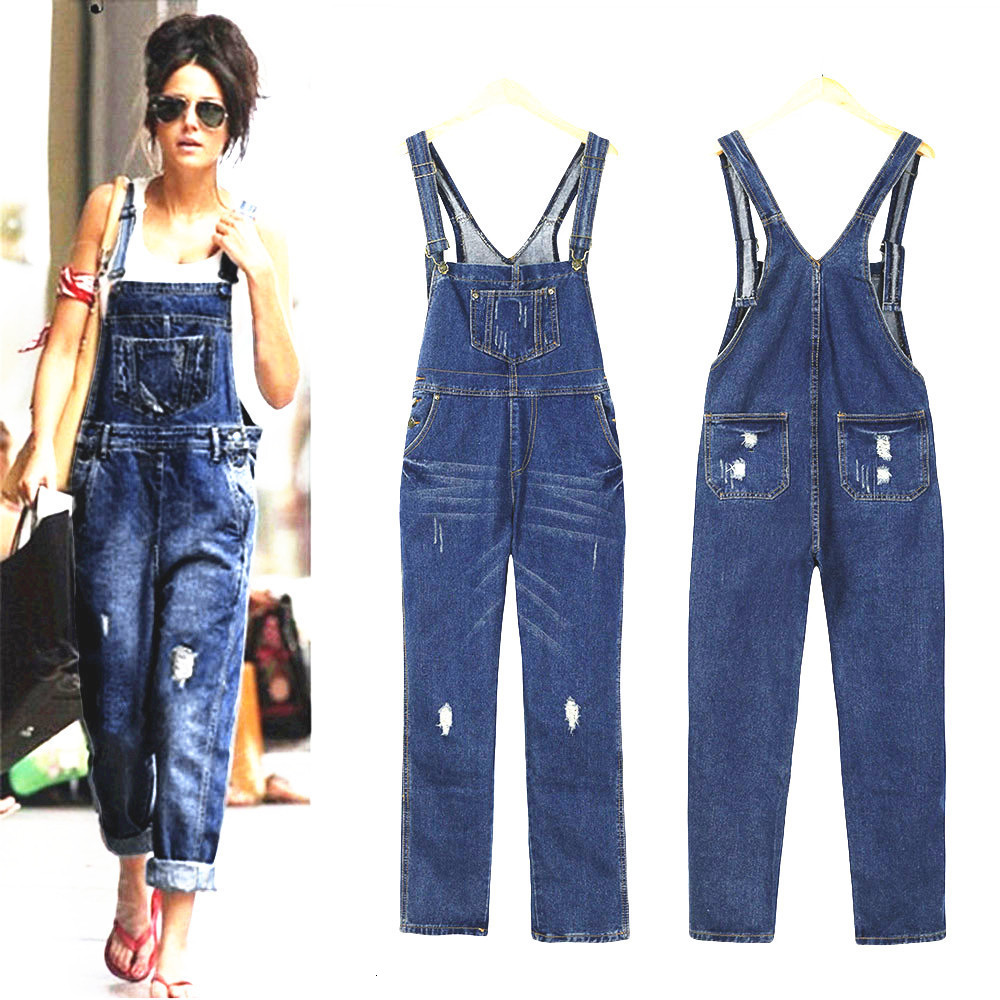 Womens Ripped Overall Jeans Loose Straight Bib Pants Casual Plus Size Female Street Pocket Suspenders Denim Trousers with Braces