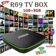 Reproductor multimedia R69, Android 2019, dispositivo de TV inteligente, 1 + 8G, Quad Core, HD, 7,1 GHz, WiFi, 4K, 2,4 P, HD, compatible con películas en 3D, nueva oferta de 1080