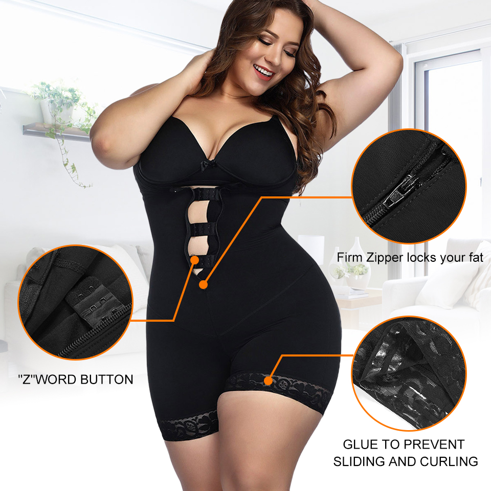 Image 3 - Yumdo Women Plus size 5XL Body Shaper Open Crotch Shaperwear Slimming Full BodySuit Control Waist trainer Butt Lifter Underwear-in Bodysuits from Underwear & Sleepwears