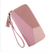Women's long wallet zipper large capacity clutch bag fashion tassel design female money bag credit card clip color matching mobile phone bag 2019 luxury brand leather wallet fashion stripes and color matching design money clip for men