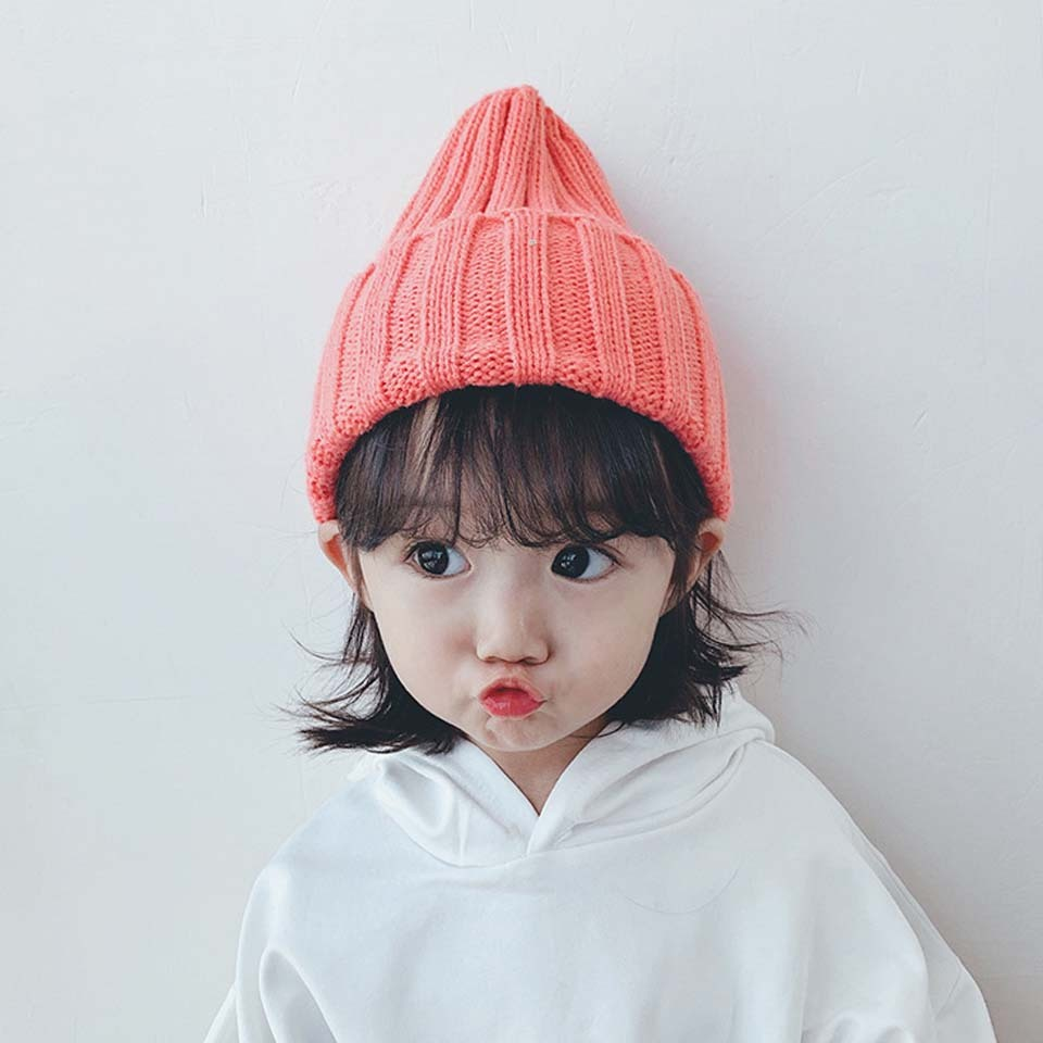 Winter Baby Toddler Bear Knitted Wool Hat Kids Girls Boys Warm Beanie Cap Plain