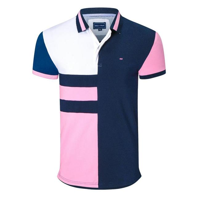 New arrival men's patchwork polo shirts park brand design stright tops business eden casual homme embroidery tops 2