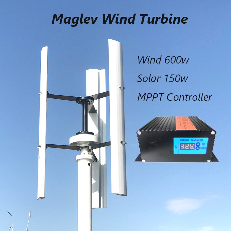 New Vertical Wind Turbine Generator 400w 12v 24v 48v 3 Phase for Home or Streetlight Use With MPPT Controller