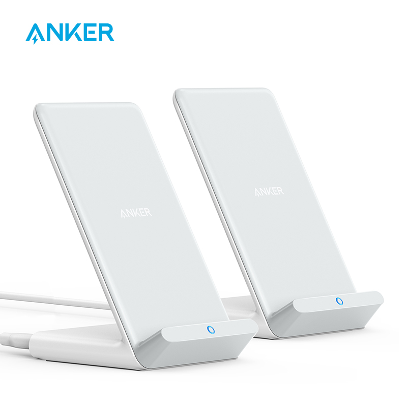 Anker Wireless Charger, 2-Pack PowerWave Stand Upgraded, Qi-Certified, Fast Charging iPhone 12, 12 Mini, 12 Pro Max(No AC Adapte