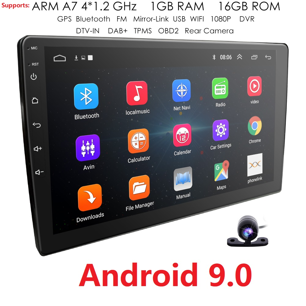 9 Inch Android 9.0 Universal Car Radio 2din Android Car Radio DVD Player GPS NAVIGATION WIFI Bluetooth MP5 Player Rear Camera 4G