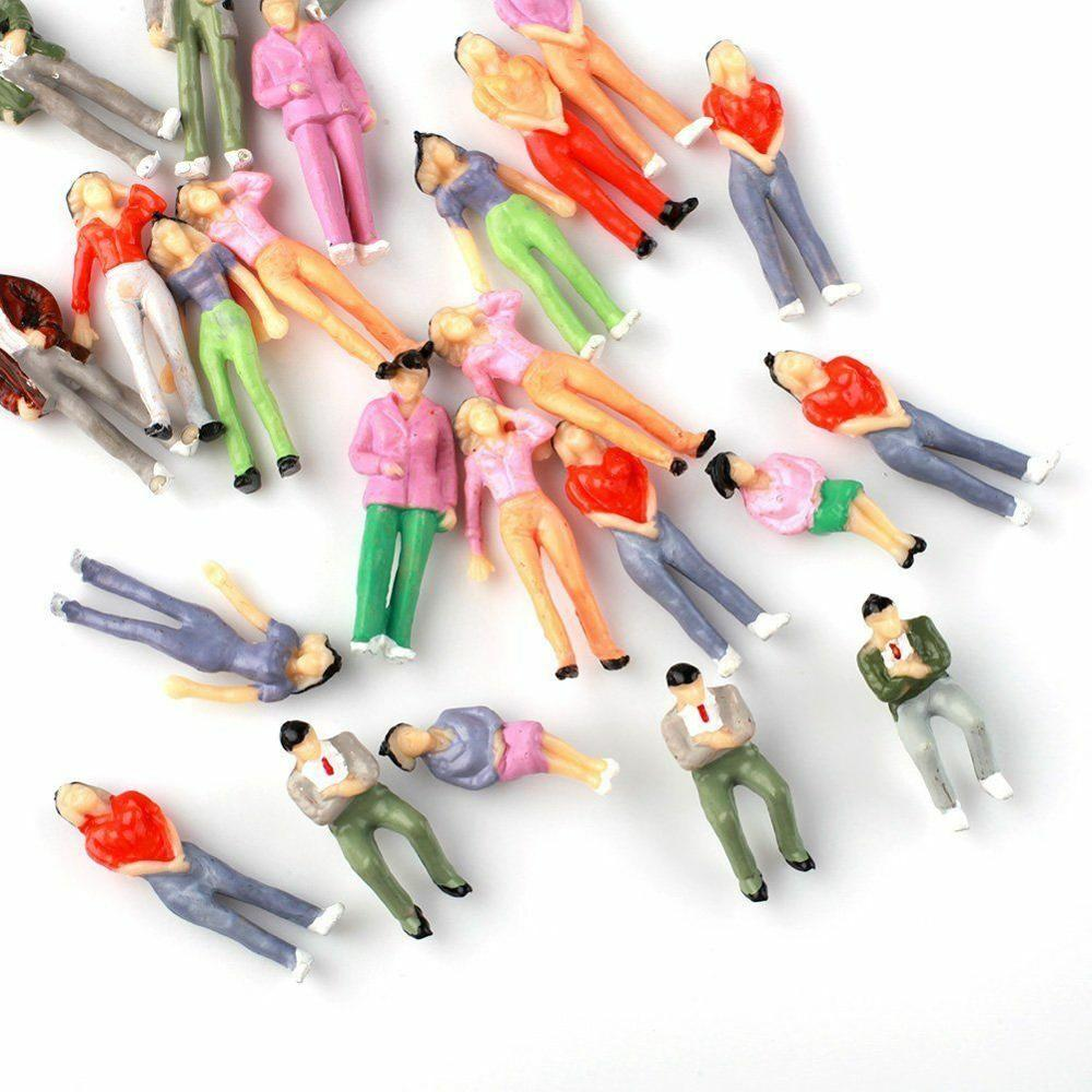 25Pcs 1:43 O Scale Seated Painted People Figures Mixed Sitting Passenger Scenery