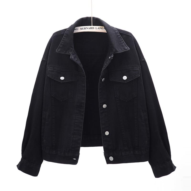 Harajuku Весна Осень Большой размер Свободная джинсовая куртка пальто для женщин корейский стиль розовый черный желтый верхняя одежда Модная Д...