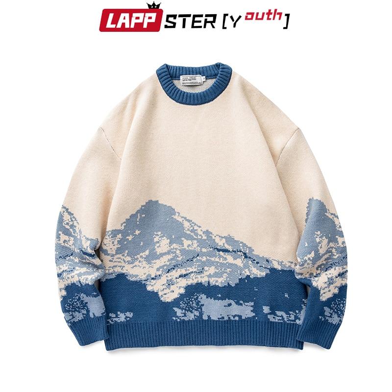 LAPPSTER-jeunesse hommes Harajuku montagne hiver chandails 2020 pull hommes surdimensionné coréen mode chandail femmes Vintage vêtements