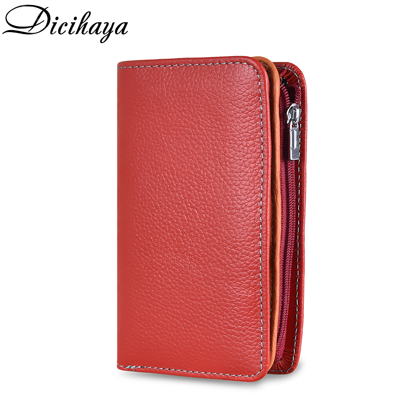 DICIHAYA Small Women Wallets Female Genuine Leather Card Holder Wallet Zipper Design With Coin Purse Pockets Handy Mini Wallet