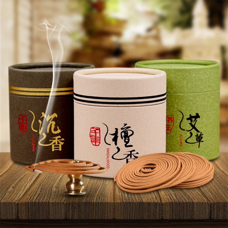 48pcs/box Natural Sandalwood Coil Incense Mosquito Repellent Wormwood Coils Incense Aromatic Fragrant Relaxing Relieving Stress(China)