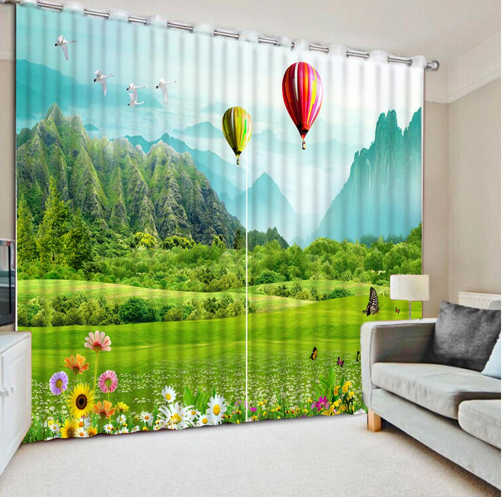 Décoration rideau fenêtre pour salon chambre hôtel salle de réunion décor à la maison paysage papillon ballon rideaux