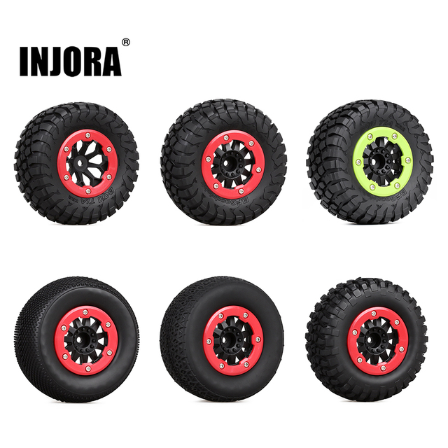 INJORA 4PCS RC Car Beadlock Rubber Tires Wheel Rim Set for 1/10 Short Course Truck Traxxas Slash 4x4 VKAR 10SC HPI 1