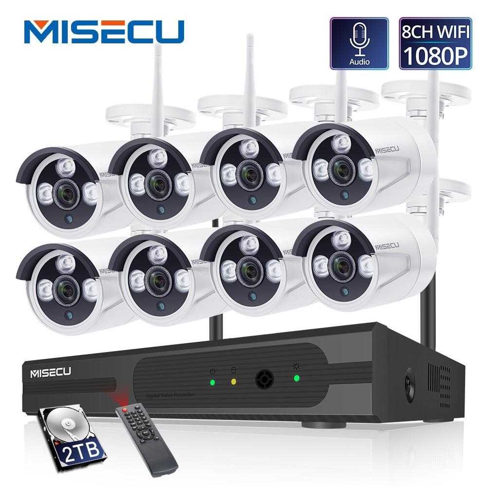 MISECU H.265 8CH 1080P Wireless NVR Kit 2MP Outdoor Security Audio Record Wifi IP Camera P2P Video CCTV Surveillance System Set