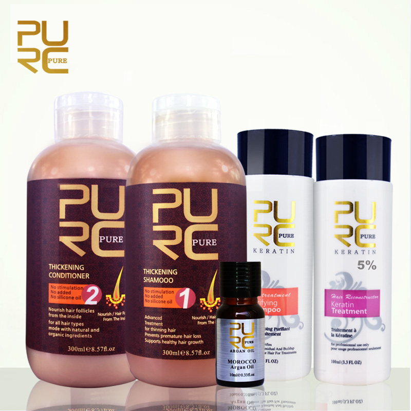 PURC Thickening Hair Shampoo and Conditioner for Hair Growth + Brazilian Keratin Hair Straightening Treatment 5% formalin Sets image