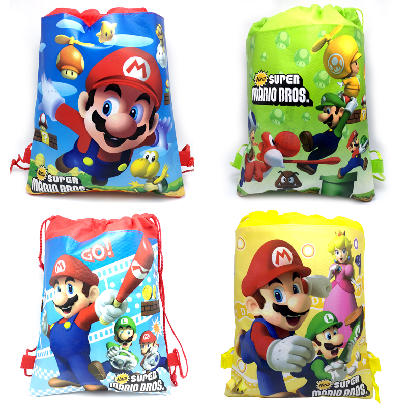 1pcs/lot Birthday Party Kids Boys Favors Bag Decoration Mochila Super Mario Theme Non-woven Fabric Events Drawstring Gifts Bags