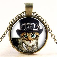 Модный винтажный панк кулон с милым котом ожерелье для мужчин