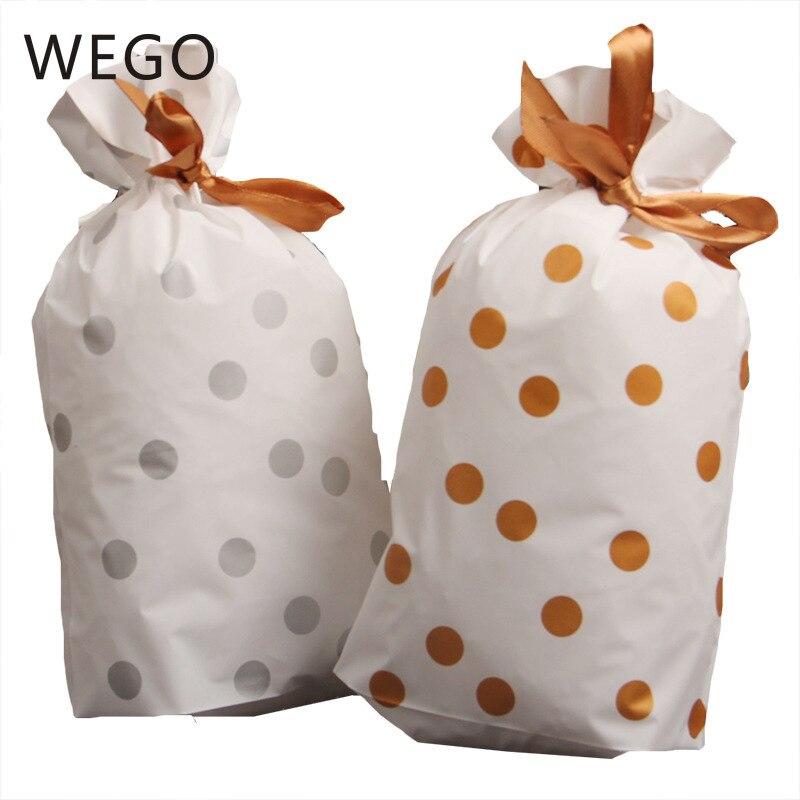 50pcs /lot Festive Drawstring Bags Dot Ribbon Creative Cute Drawstring Biscuits Wishes Bag Christmas Bag