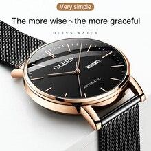 Olevs-Reloj de campo automático para hombre, reloj masculino de pulsera, mecánico, automático, dorado, 2021