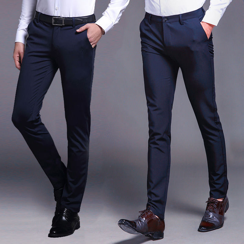 Spring Fashion Business Casual Pants Men's Slim Trousers Men's Clothing Youth Thin Trendy Business Skinny Pants Men's Trousers