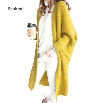 Female Long Cardigans Coat Loose Sweater Women Autumn Winter Casual Batwing Sleeve Plus Size Thick Warm Knit Jacket batwing sleeve self tie knit dress