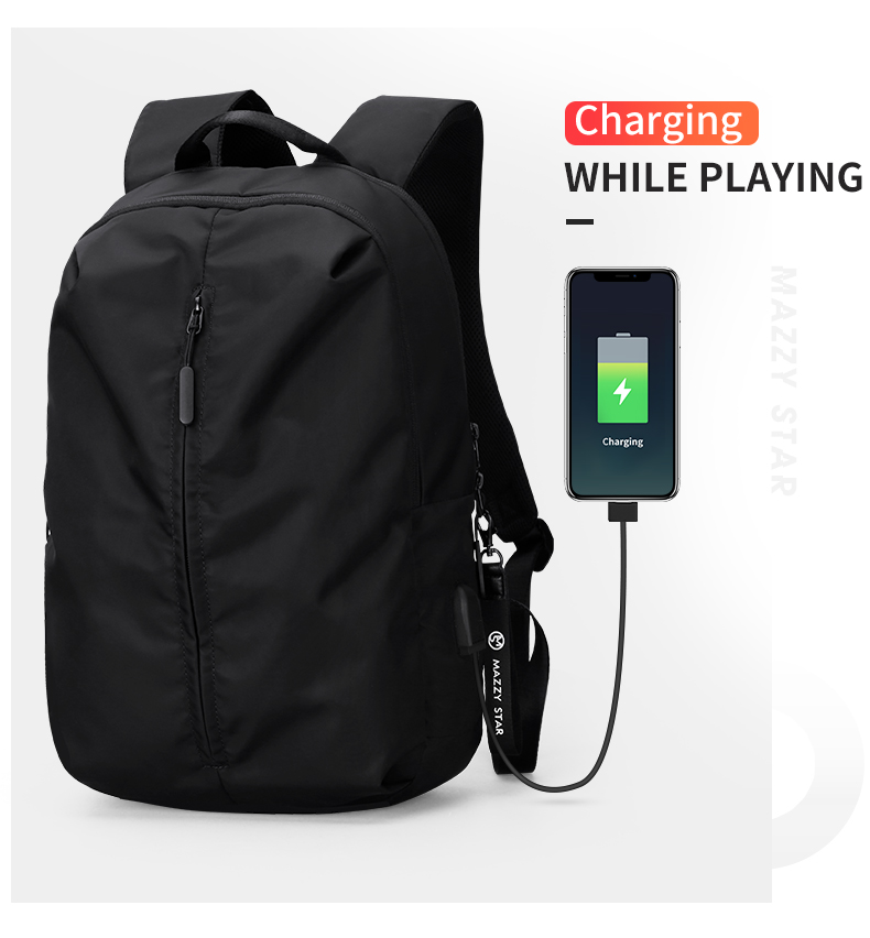 2019 New USB Charging 15-inch Laptop Backpack Men's Fashion Travel Backpack College Student Bag Teenager Boy Backpack Mochila image