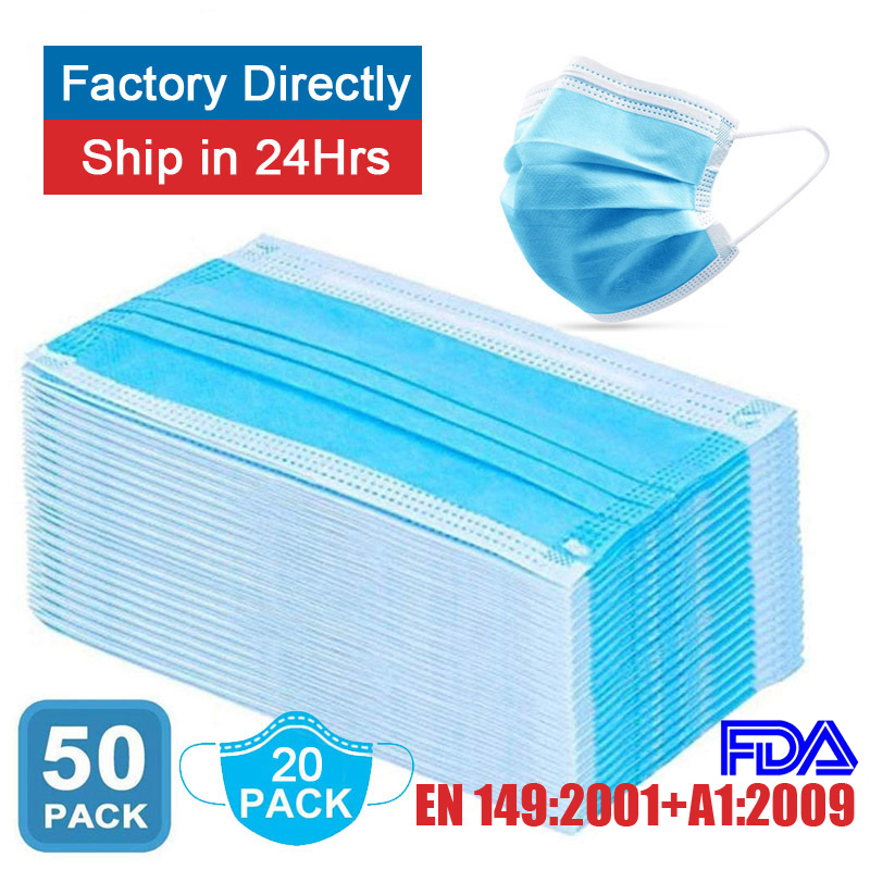 Surgical Face Masks Medical 3 Layers 95% Anti Dust Disposable Proof Flu Face Mouth Mask Non Woven Earloops Respirator 20/50pcs