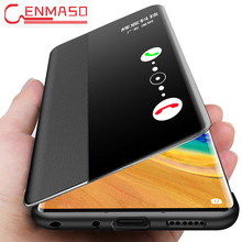 Original Cenmaso for Huawei Mate 30 Pro flip leather case Smart touch View window for Huawei Mate 20 X 30 Pro Protective funda case цены