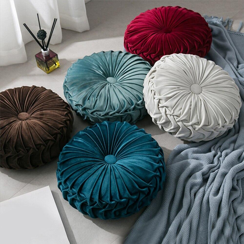 European Style Round Seat Cushion Velvet Fabric Throw Pillow Cushion Handmade Pleated Wheel Pumpkin Seat Cushion