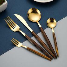 Stainless steel golden tableware wooden handle knife, fork, spoon Western tableware kitchen tableware set steak knife