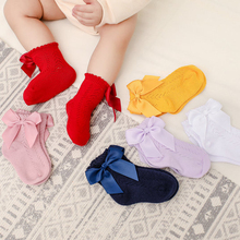 2021 New Spring And Summer Children's Socks Bow Hollow Dress Soft Socks European and American Style for 0-3years Baby Boys Girls