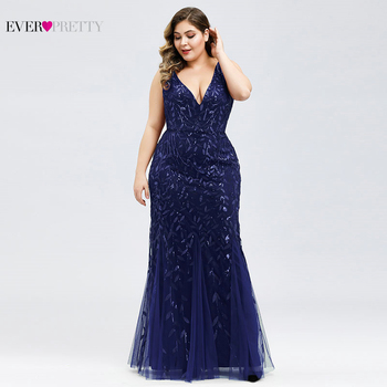 Elegant Plus Size Prom Dresses Long Ever Pretty Robe De Soiree Mermaid V Neck Sequined Wedding Party Gowns Vestidos De Fiesta 4
