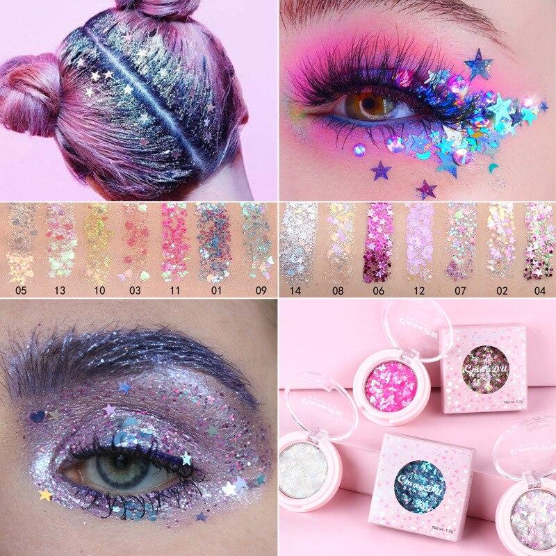 Eyeshadow Glitter Nail Hair Body Face Glitter Gel Art Flash Lasting Shimmer Eye Shadow Powder Makeup Waterproof Cosmetic TSLM2