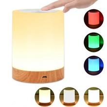 Inovador led controle de toque luz da noite indução dimmer lâmpada de cabeceira inteligente rgb cor mudança usb recarregável lâmpada noite