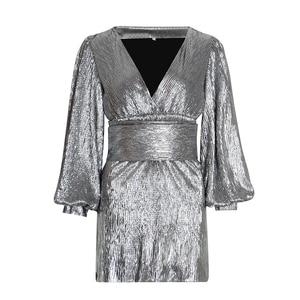 Image 4 - Женское платье с блестками TWOTWINSTYLE, Осеннее вечерние с рукавами фонариками, V образным вырезом и высокой талией, 2020