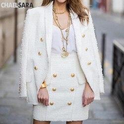 Высококачественный белый черный блейзер для женщин с длинными рукавами и золотым двойные пуговицы новые дизайнерские блейзеры внешняя кур...