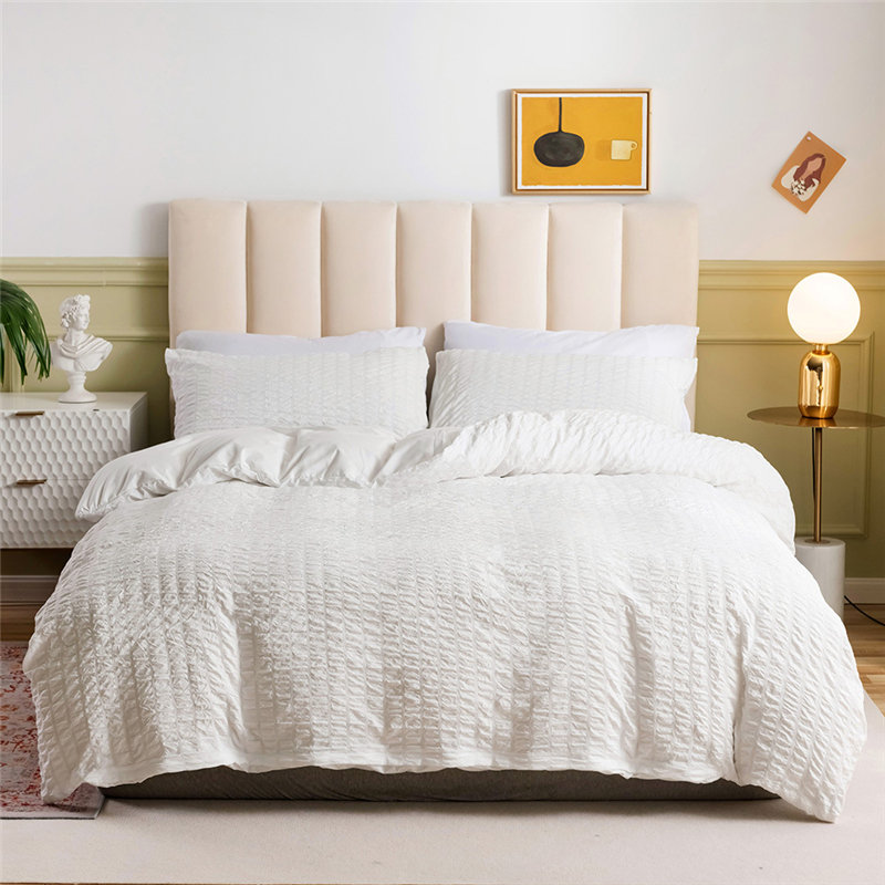 2/3pcs Seersucker White Slap-up Luxury Bed Linen Duvet Cover Pillowcases Queen King Size Soft Bedding Set No Filling Bed Sheet