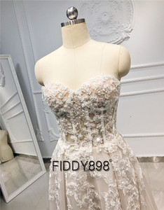 Image 3 - Beach Boho Wedding Dress 2020 Sweetheart Beaded Crystal Lace A Line Court Train Bridal Gowns Elegant Bohemian Bride Dresses