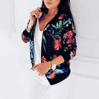 Women's Jacket Floral Printed Long Sleeve O Neck Tops Sweatshirt Spring Slim Womens Coats and Jackets Outwear Zipper Plus Size 1