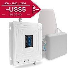 GSM 3G 4G Amplificatore di Segnale 900 1800 2100 Tri Band Ripetitore 2G 3G 4G LTE 1800 Cellulare Amplificatore di Segnale Del Telefono Cellulare Ripetitore di Segnale