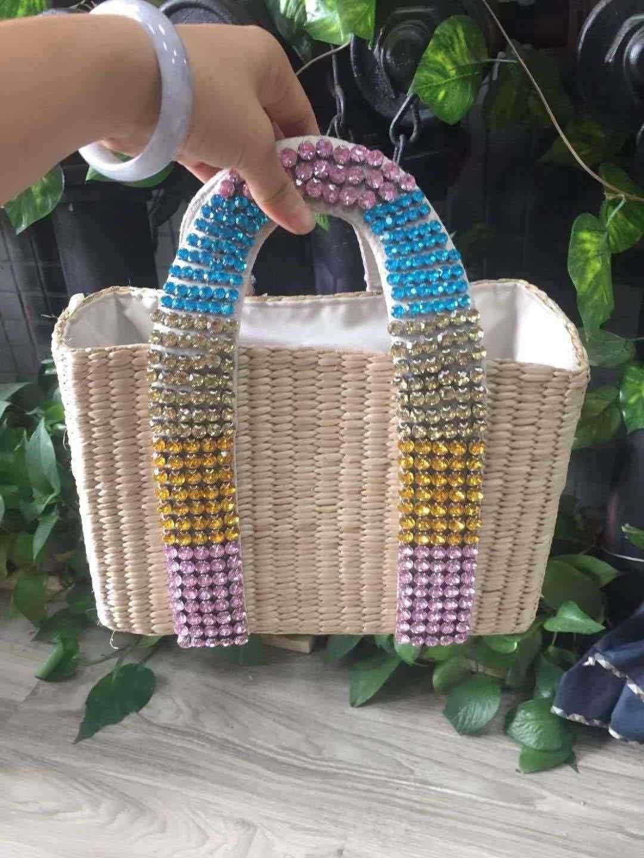 palha tecido cesta bolsas para as mulheres